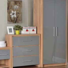 grey and wood stlyed bedroom furnature